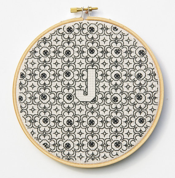 Blackwork Initial Hoop Embroidery Wall Art by InLieuOfLiaisons, $75.00