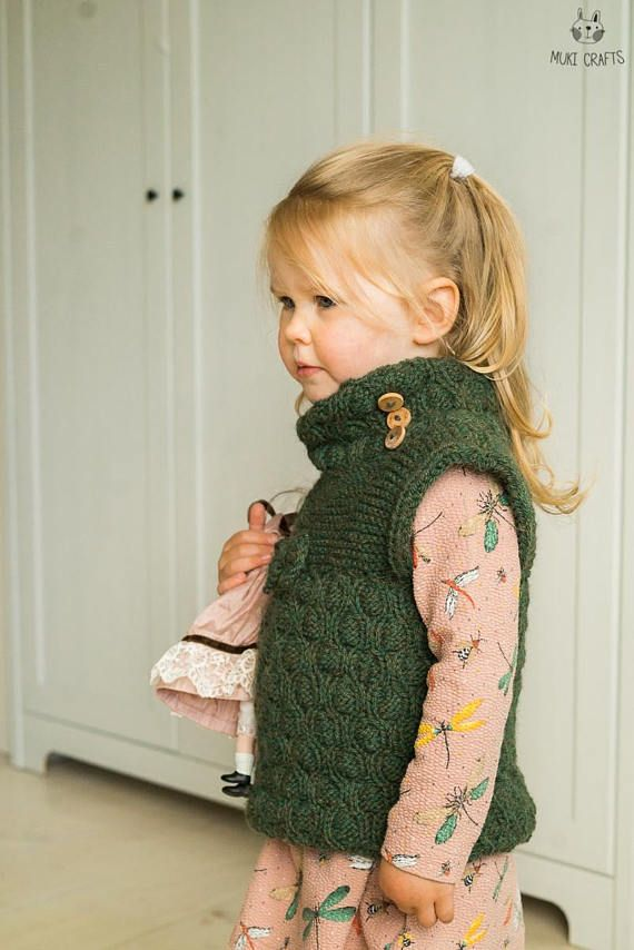 Knitting Pattern Kids Vest Moira With A Bow And Collar Toddler And