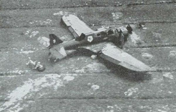 PZL. 23 P Karas of the Polish Air Force shot down near the border with East Prussia.