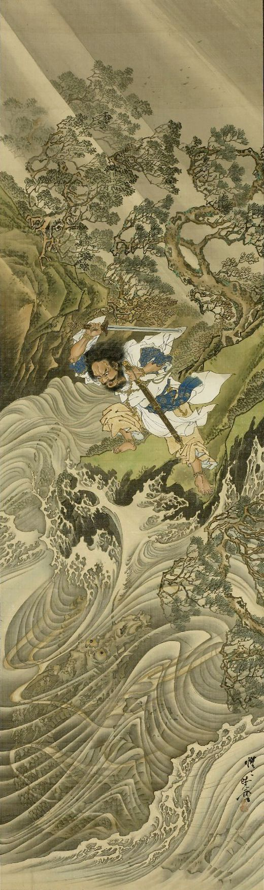 Kawanabe Kyōsai (河鍋 暁斎, May 18, 1831–April 26, 1889). Susano-o no Mikoto subduing Yamata no Orochi, eight-headed serpent in form of dragon, coming up out of raging sea on storm-swept rocky coast.  Meiji period, 1887. TYPE: Hanging scroll, color on silk. DIMENSIONS: 100.4 x 29.7 cm.