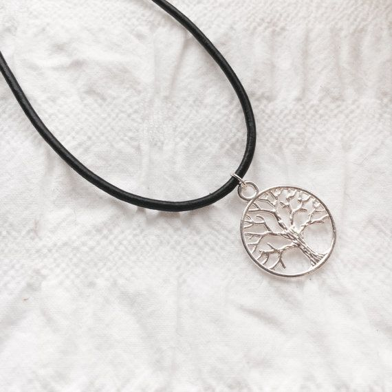 Tree of Life leather necklace tibetan silver by JunkboxCouture