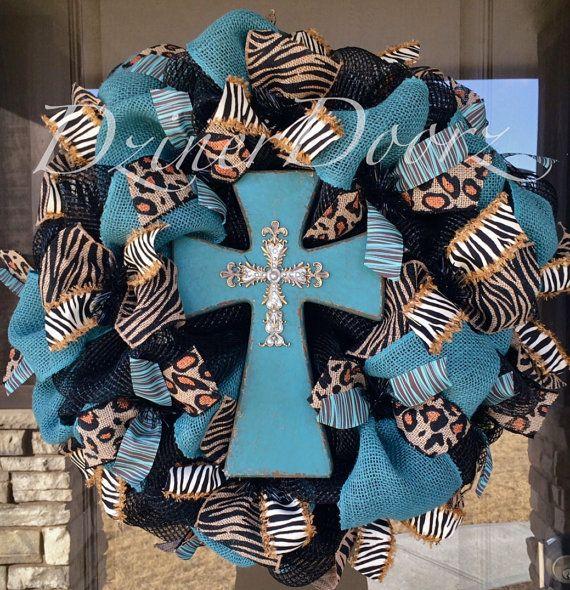 Zebra and Leopard Turquoise Cross deco mesh Wreath by DzinerDoorz, $115.00