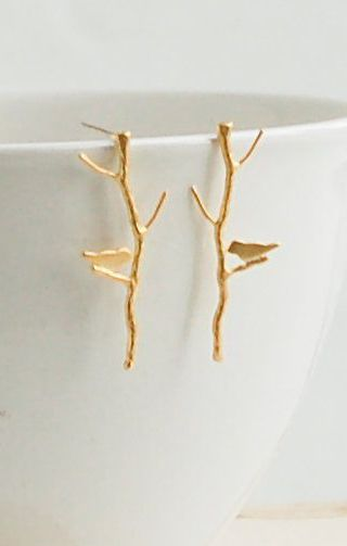 Gold BIRD on a Branch Earrings Woodland