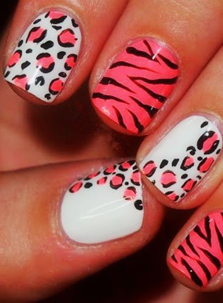 Zebra Print Nails Design,zebra-stripe nails for girls,Pink Zebra Print Nails Art for 2014 Fall/Winter