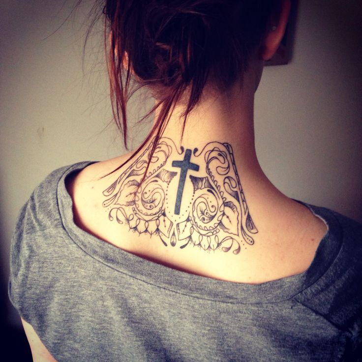 101 Pretty Back Of Neck Tattoos: Back Of Neck Tattoo With A Cross In The Center. Cool
