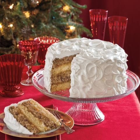This cake is bound to become a family favorite. For added beauty, use a kitchen torch to lightly brown the edges of the frosting, if desired.