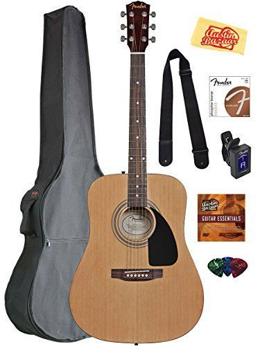 awesome Fender Acoustic Guitar Bundle with Gig Bag, Tuner, Strings, Strap, Picks, Austin Bazaar Instructional DVD, and Polishing Cloth