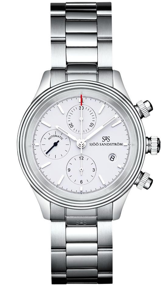 Royal Steel Chronograph 42 mm, white dial with steel bracelet. #sjöösandström #sjoosandstrom #watch #watches #sweden #chronograph #classic