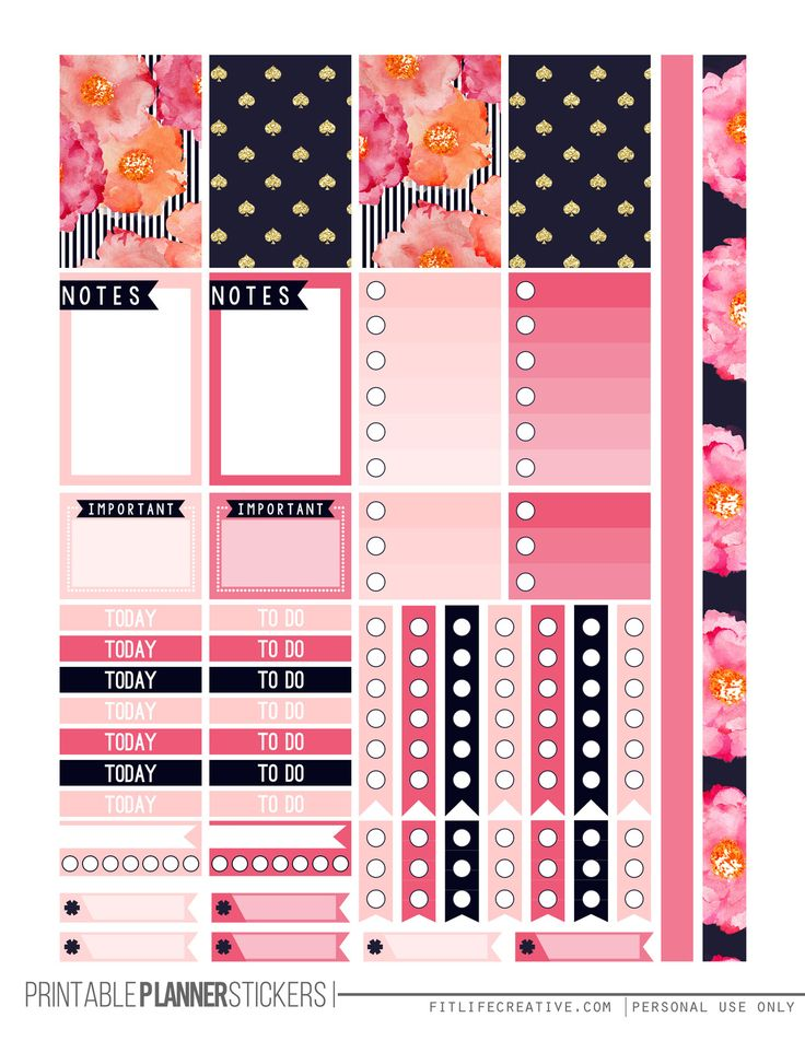 Pretty in Pink Free Happy Planner Printable Sticker set. Includes two pages of pink and navy floral planner stickers that are not only beautiful but also fully functional.