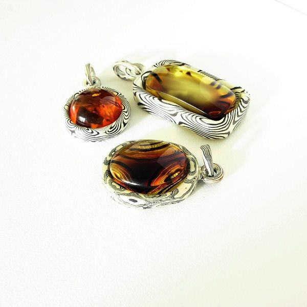 Amber  Mokume Jewelery