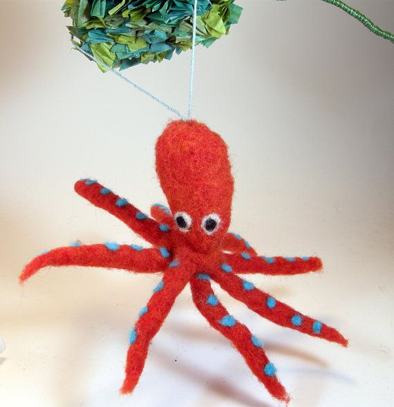 Red octopus hanging ornament/needle felted octopus