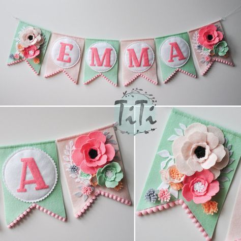 Personalized felt baby pennant banner name, Custom Boho decor, Bohemian Nursery, Tribal Banner, Flags banner, Pennant Banner, Felt flowers