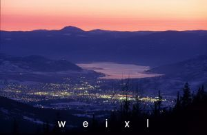 Vernon BC city lights at night, overlooking Okanagan lake.  http://donweixl.com/wordpress/