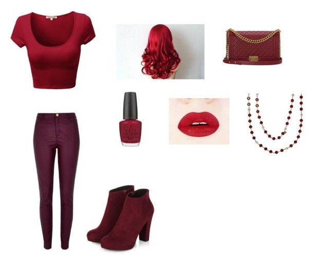 """Dark red"" by hayleybanks on Polyvore featuring River Island, Chanel and OPI"