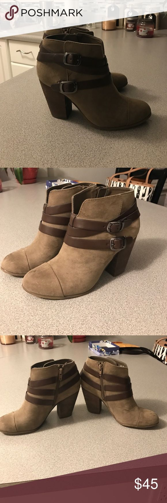 Carlos Santana boots 👢 Wore a couple times, like brand new! Very cute Swede boots with buckle details Carlos Santana Shoes Ankle Boots & Booties