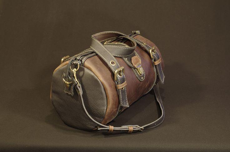 sac de voyage ,sac polochon,cuir marron et noir ,homme : Bagagerie par matosha