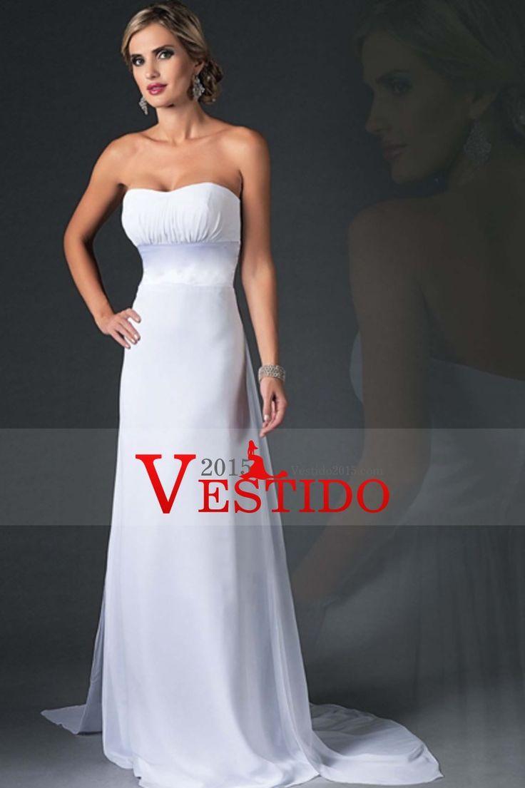 2015 vestidos de novia sin tirantes de una línea de gasa tren de la corte