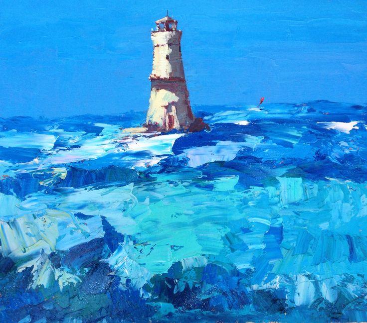 Italian original painting abstract Calasecca Lighthouse Sardinia sea seascape modern art oil on canvas 80x80 cm Sardegna Italy italia
