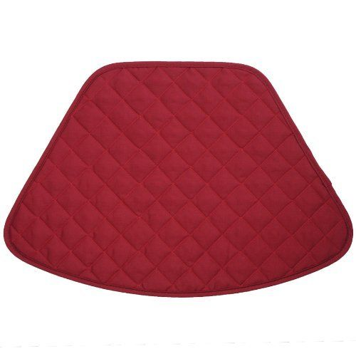 Berry Quilted Wedge-Shaped Placemat for Round Tables by Sweet Pea Linens. $5.95. Machine Washable.. Measures approximately 13 inches deep, 9 inches wide at the top and 20 inches at the bottom.. 100% Cotton outer, with 100% Polyester fill.. The wedge-shaped placemat is designed especially for round tables! No more overlapping mat or having corners hang over the edge. Sold individually.. Reversible design.. Berry Quilted Wedge-Shaped Placemat for Round Tables Sold as an in...