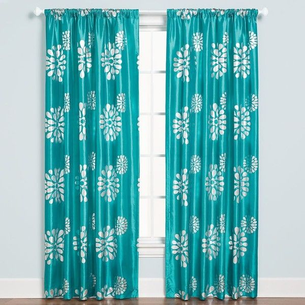 Zazzle Rod Pocket 84-Inch Window Curtain Panel in Aqua ($30) ❤ liked on Polyvore featuring home, home decor, window treatments, curtains, rod pocket panels, blue green curtains, pole pocket curtains, aqua blue curtains and polyester curtains