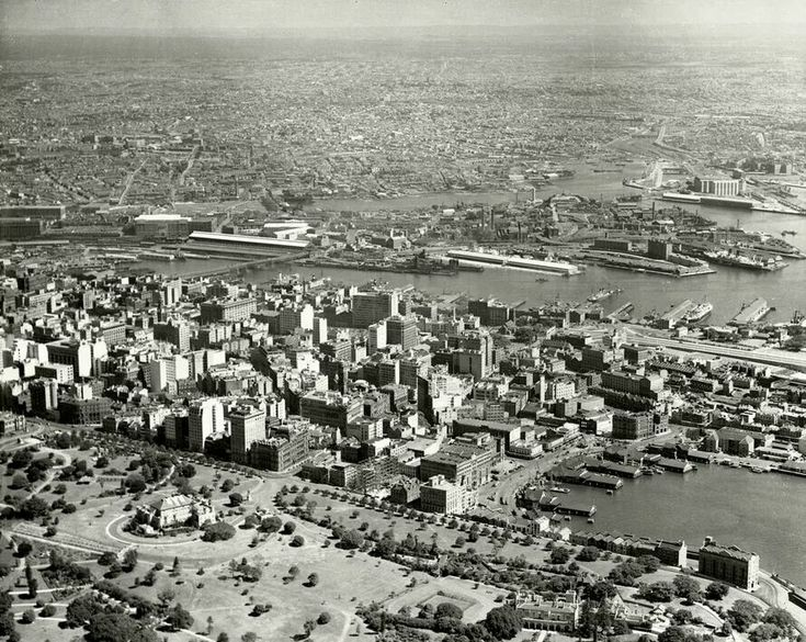 Aerial photo of Sydney and current day Darling Harbour in 1935. •The Royal Australian Historical Society•