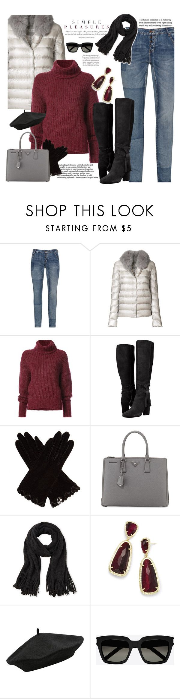"""Puffer Coat & Turtleneck Sweater"" by majezy ❤ liked on Polyvore featuring Zizzi, Herno, BY. Bonnie Young, AGNELLE, Prada, Steve Madden, Kendra Scott, M&Co and Yves Saint Laurent"
