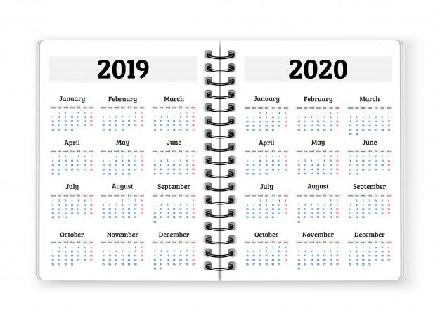 Open Notebook Paper With Calendars For 2019 2020 Years Background