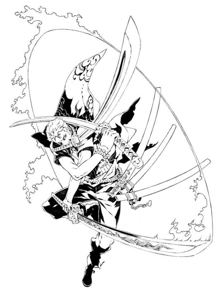 105 best images about artists miwa shirow on pinterest ribbon shirt artworks and swords - Zoro one piece dessin ...