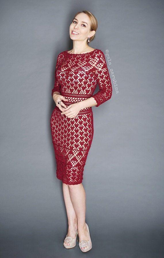 Woman Crochet Summer Lace Dress Monique Instant download PDF