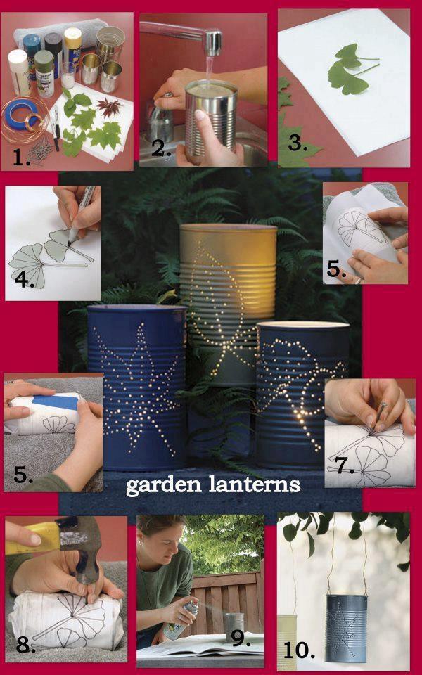 Recycle: blikken tuinlantaarns