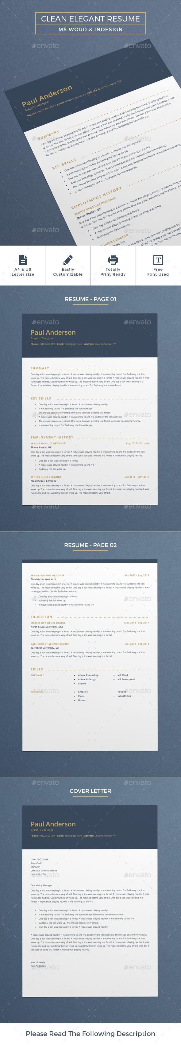Clean Elegant Resume  One Day Resume