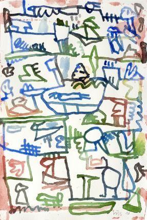 Ça va mieux couché ?, 2010 Galerie Lelong - Oeuvres - Jan Voss 2010 Aquarelle sur papier 25 x 16,5 cm