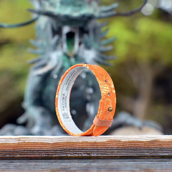 Japanese kimono bracelet. Genuine leather covered with