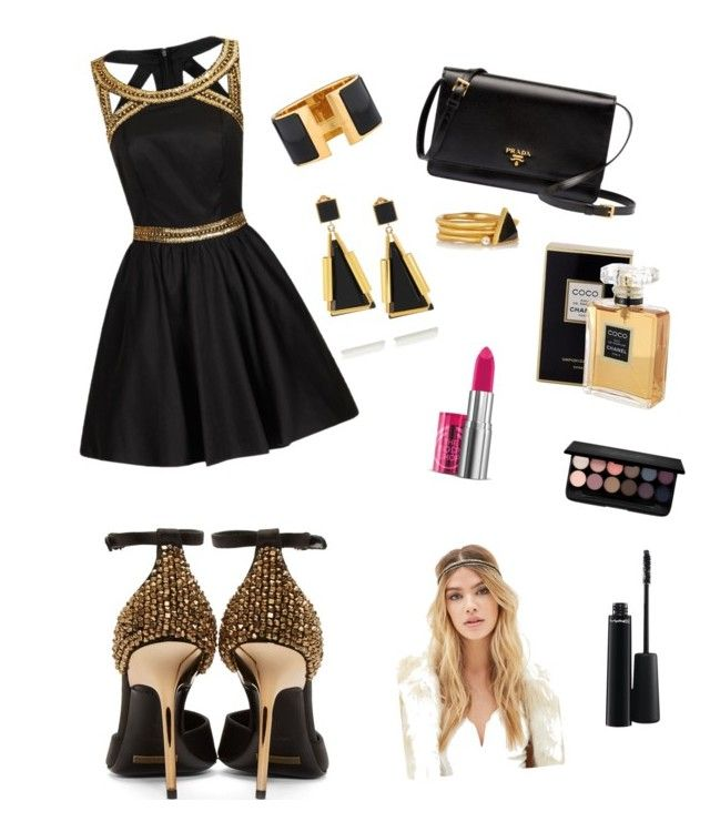 black #2 by ymerly15 on Polyvore featuring polyvore fashion style Chi Chi Burberry Prada Marni Hermès Kevia Forever 21 MAC Cosmetics The Body Shop Chanel clothing