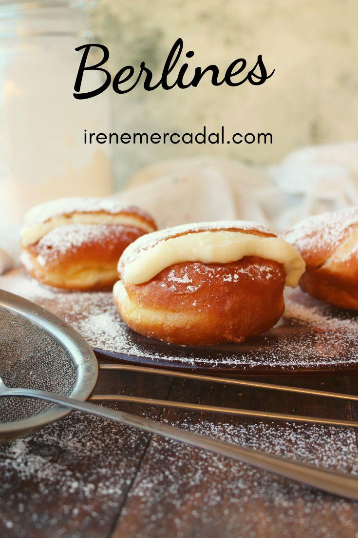 Los berlines son un pasteles fritos, parecidos a un donut relleno ¿Quieres ver la receta?  #bolasdefraile #berlinesas #recetabombas Hot Dog Buns, Hot Dogs, Tapas, Relleno, Hamburger, Irene, Desserts, Food, Fried Pies