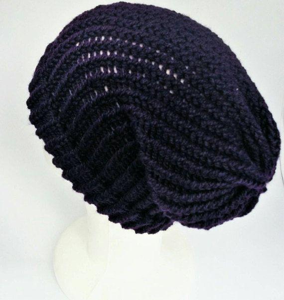 Purple slouchy hat, ladies slouch hat, teen girl beanie, knitted hat, bohemian hats, woolly hat, autumn hat, girls beanie hat, lelsloom