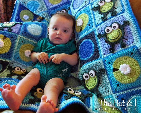 CROCHET PATTERN - Frog Frenzy - a toadally HoPpY frog blanket with lily pads - Instant PDF Download