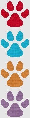 Bookmark 2. Paw prints. Free cross stitch pattern