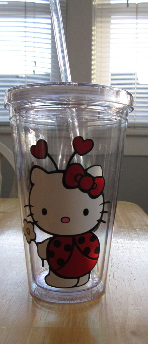 HELLO KITTY Ladybug Acrylic Tumbler  So cute!  I need to find one for Naomi Rose!