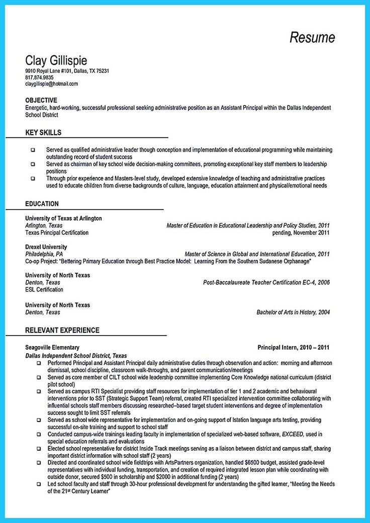 at the beginning part of assistant principal resume  you