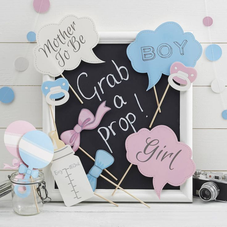 Pink and blue themed photo booth party props, perfect for a baby shower or gender reveal party!Our pack of photo booth props are a great way to take some fun, memorable pictures with your guests at your baby shower or gender reveal party! Each pack consists of 10 photo booth props including boy, girl, dummy, bootle and rattle props! Other products in the baby boy or girl range are available! Including fun tableware items such as table confetti and cupcake toppers.Card and wooden sticks. Each…