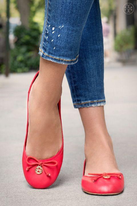 Dress up denim with a bright ballet: Tory Burch Chelsea Ballet #Flat