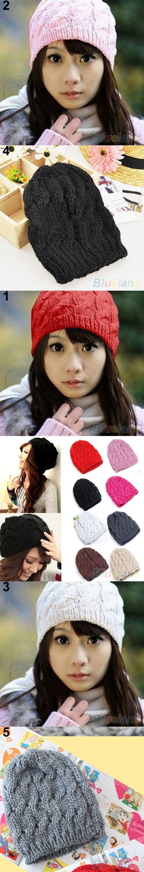 Bluelans Women's Winter Knit Crochet Knitting Wool Braided Baggy Beanie Ski Hat Cap