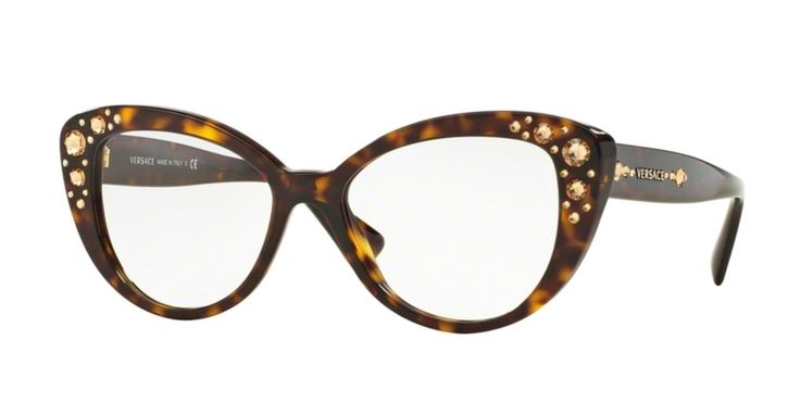 Versace plastic cat eye glasses with beveled décor at the temples that looks like sequins. Size 52.17.140 and 54.17.140