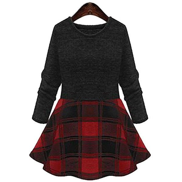 Yoins Yoins Plus Size Red and Black Checked Skater Dress ($27) ❤ liked on Polyvore featuring dresses, red, print dress, print skater dress, flare skater dress, women plus size dresses y flared dress