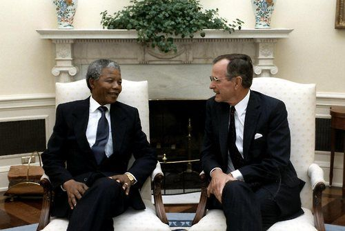 President George HW Bush became the first U.S. President to welcome Nelson Mandela to the White House on June 25, 1990. -from the George Bush Presidential Library and Museum.