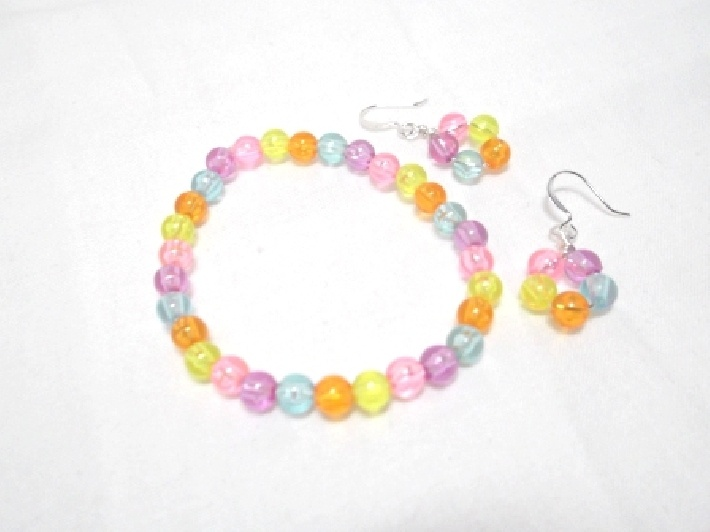 Pastel Gems Stretch Bracelet and Earrings for girls: Handmade Products, Gems Stretch, Stretch Bracelets, Girls Generation, Pastel Gems, Handmade Artists