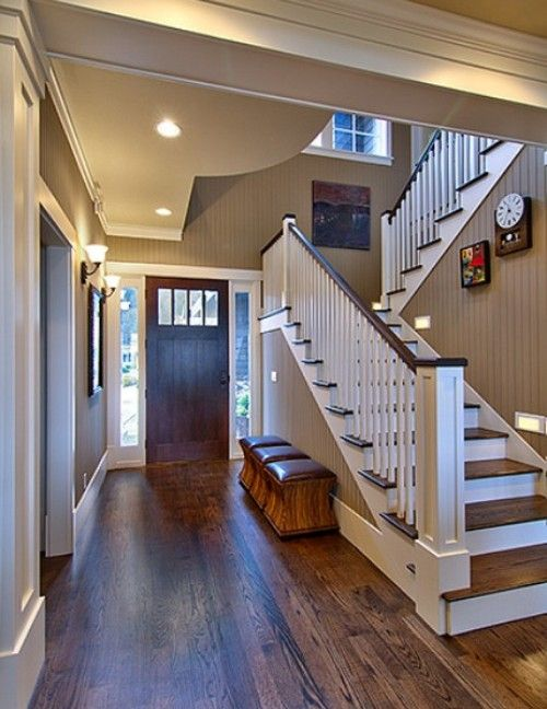 More simple white end post, with dark wood header.: Dark Walnut Stained, Wall Colors, Stairs, Oak Floors, Paintings Colors, White Trim, Front Doors, Simple White, Paint Colors
