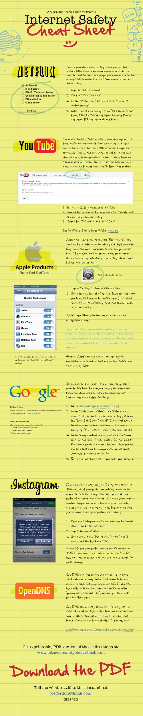 Internet Safety for Kids and Teens. This is a quick cheat sheet for non-techie parents who care about keeping their kids safer online. It takes about 30 - 45 minutes to make these simple changes! www.internetsafet... #youtube #google #iphone: For Kids, Mobiles Learning, Cheat Sheets, Safety Cheat, Safety Tips, Education Technology, Non Techi, Internet Safety, Teacher