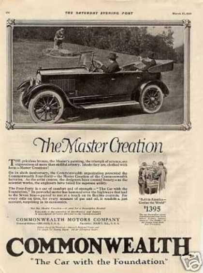 Commonwealth Car 1920 Car Advertising 1920s Car